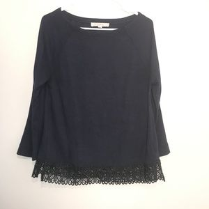 Ann Taylor LOFT | Navy Top with Black Lace Trim